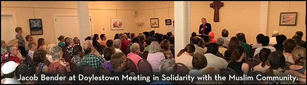 Jacob Bender at Doylestown Meeting in Solidarity with the Muslim Community