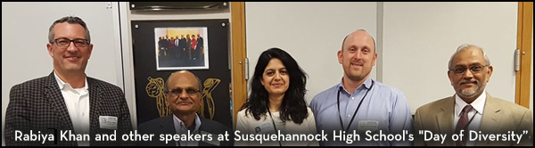 Rabiya Khan and other speakers at Susquehannock High School's Day of Diversity.