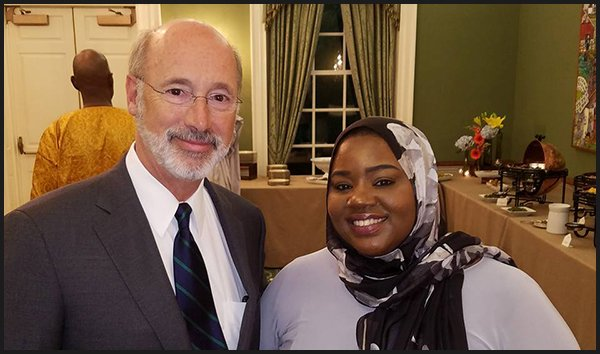Governor Tom Wolf and Salima Suswell.
