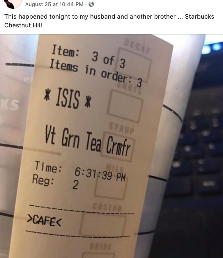 The words *ISIS* displayed on a Starbucks receipt