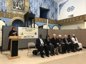 Speakers at an Interfaith event at the Islamic Society of Delaware